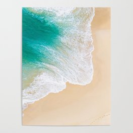Sand Beach - Waves - Drone View Photography Poster