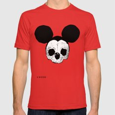Dead Mickey Mouse LARGE Mens Fitted Tee Red