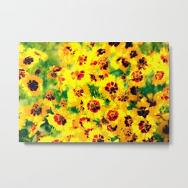 blooming yellow flower with green leaf background Metal Print
