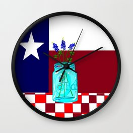 Texas Flag and Blue Bonnets Wall Clock