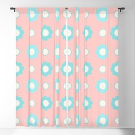 Blue and white flowers over pink Blackout Curtain