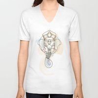 quibe V-neck T-shirts featuring One Line Ganesh by quibe