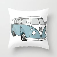 vw Throw Pillows featuring VW Camper by 1and9