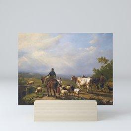 Eugène Verboeckhoven 1799 - 1881   RIDER CONVERSING WITH A SHEPHERDESS IN AN EXTENSIVE LANDSCAPE Mini Art Print