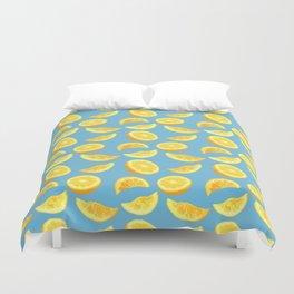 Lemon Slices and Wedges on blue Duvet Cover