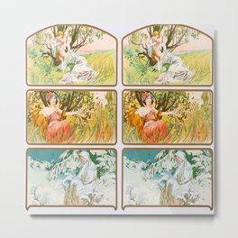 "Alphonse Mucha ""Three Seasons"" Metal Print"