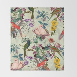 Floral and Birds VIII Throw Blanket