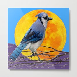 BLUE JAY & GOLDEN MOONSCAPE  ABSTRACT Metal Print