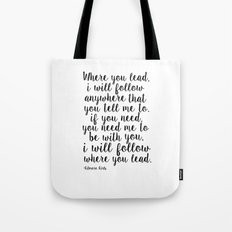 Gilmore Girls Quote,Where You Lead I Will Follow, Lorelai Gilmore,Girls Room Decor,Quote Prints Tote Bag
