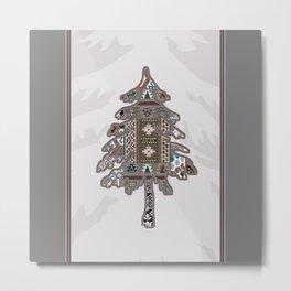 Christmas Patchwork Tree Metal Print