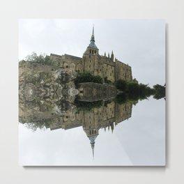Mirrored landscape 2 Mont-Saint-Michel Metal Print