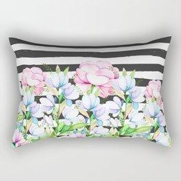 Black white brushstrokes lavender pink watercolor floral stripes Rectangular Pillow