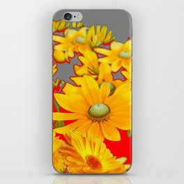 MODERN YELLOW FLOWERS GREY-RED ART iPhone Skin