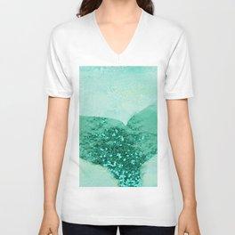 A Mermaid's Tail III, painterly coastal art, aqua metal Unisex V-Neck