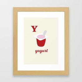 Y is for yogurt Framed Art Print