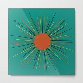 Mid-Century Modern Sunburst - Minimalist Abstract Sun in Mid Mod Orange, Olive, Mustard, and Teal Turquoise Metal Print