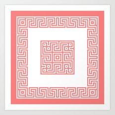 Greek Key coral Art Print
