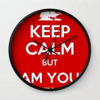 keep calm Wall Clocks featuring Keep Calm by ubertwigg