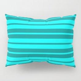 Dark Cyan & Lighter Cyan Stripes/Lines Pattern Pillow Sham
