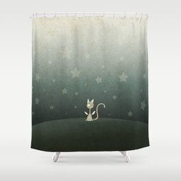 Small winged polka-dotted beige cat and stars Shower Curtain