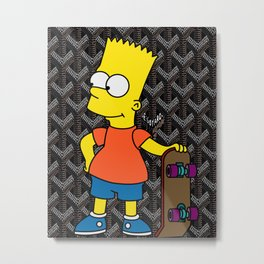 Bart Simpson skateboarding x Goyard Metal Print