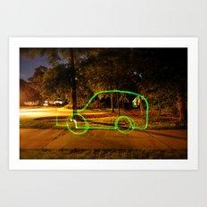 Glowstick Car Art Print