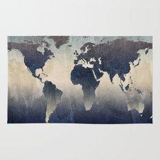 World Map Gray Rug