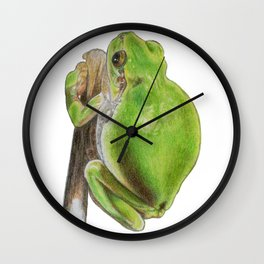 Plump Green Tree Frog Wall Clock