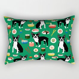 Boston Terrier sushi funny dog art pattern gifts for dog lover pet portrait Rectangular Pillow