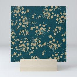 Gold Green Blue Flower Sihlouette Mini Art Print