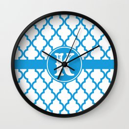 Blue Monogram: Letter K Wall Clock