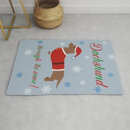 Dachshund through the snow - santa Rug