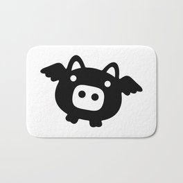 Pigs Will Fly (b&w) Bath Mat