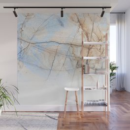 Cotton Latte Marble - Ombre blue and ivory Wall Mural
