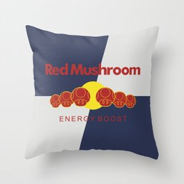 Red Mushroom Energy Boost Throw Pillow