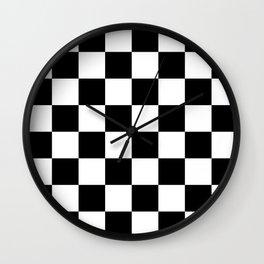 Black & White Checkered Pattern Wall Clock
