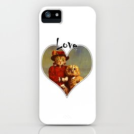 Owl And Pussy Cat Love Heart Design iPhone Case
