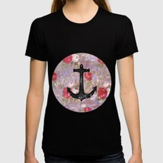 Vintage Nautical Anchor Purple Pink Floral Pattern  Womens Fitted Tee MEDIUM Black