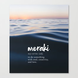Meraki Word Nerd Definition - Purple Watercolor Canvas Print