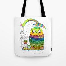 Adventure time Totoro by Luna Portnoi Tote Bag