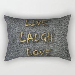 LIVE LAUGH LOVE black leather gold letters Rectangular Pillow