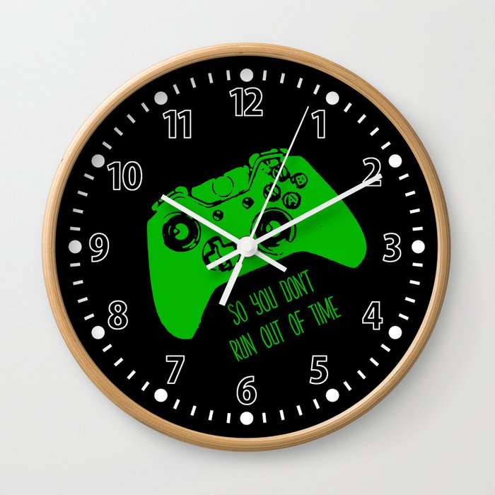 Video Game Black & Green Wall Clock