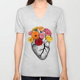 Flower Heart Unisex V-Neck