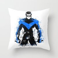 nightwing Throw Pillows featuring Nightwing by fouur