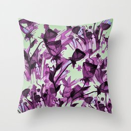 Painterly Graceful Flowing Flowers Throw Pillow