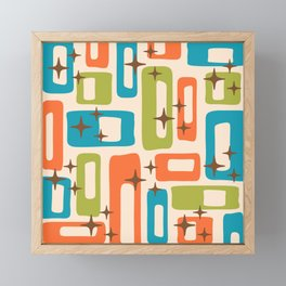 Retro Mid Century Modern Abstract Pattern 921 Orange Chartreuse Turquoise Framed Mini Art Print