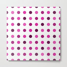 Polka Dots Pattern: Pink & Purple Metal Print