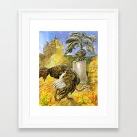 ostrich Framed Art Prints featuring Ostrich by Natalie Berman