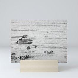 Trash Bird, black and white Mini Art Print