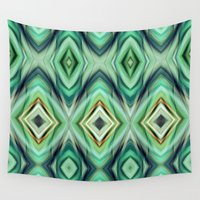 green pattern Wall Tapestries featuring Pattern green  by Christine baessler